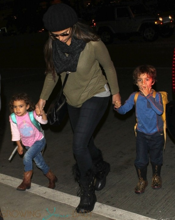 Camila Alves at LAX with kids Levi and Vida