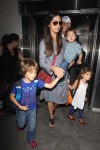 Camila Alves at the airport with kids Levi, Vida & Livingston McConaughey