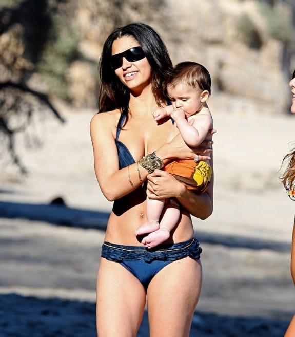 Camila Alves at the beach with baby Levi