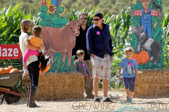 Charlie Sheen & Denise Richards with Eloise and Bob & Max Sheen at the Pumpkin Patch