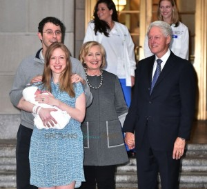 Chelsea Clinton Marc Mezvinsky with daughter Charlotte along with Bill and Hillary Clinton
