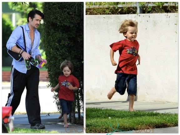 Colin Farrell picks his son Henry up @ school