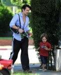 Colin Farrell Picks Up Son From School