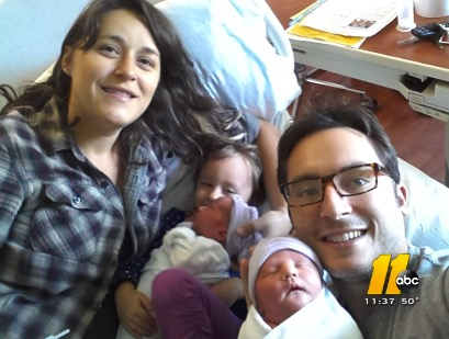Courtney and Marcus DeConto with their twins Ransom and Dahlia