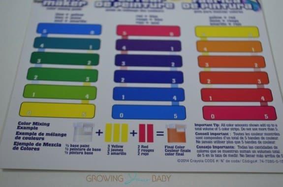 Crayola Paint Maker Set - color key