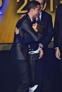 Cristiano Rinaldo hugs his son Cristiano Junior at the Ballon D'or awards