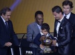Cristiano Rinaldo with his son Cristiano Junior at the Ballon D'or awards