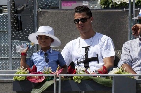 Cristiano Ronaldo and son Cristiano Junior at the Madrid Open