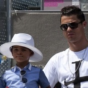 Cristiano Ronaldo Watches The Madrid Open With Son