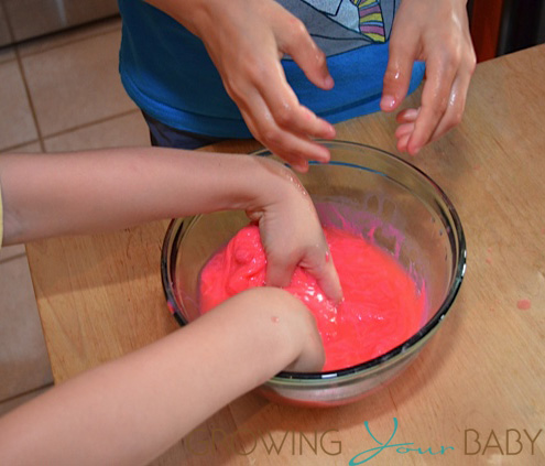 DIY making Slime - mixing it together