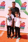 David Beckham, Romeo James Beckham, Cruz David Beckham attends The Nickelodeon Kids Choice Sports Awards in Los Angeles