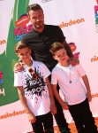 David Beckham, Romeo James Beckham, Cruz David Beckham attends The Nickelodeon Kids Choice Sports Awards in Los Angeles