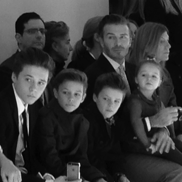 David Beckham And His Children Front Row At Victoria