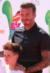 David Beckham attends The Nickelodeon Kids Choice Sports Awards in Los Angeles with son Cruz