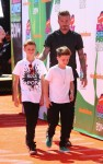David Beckham attends The Nickelodeon Kids Choice Sports Awards in Los Angeles with sons Romeo and Cruz