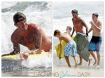 David Beckham surfs the waves with his boys Cruz, Brooklyn and Romeo in LA