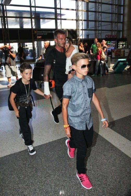 David Beckham with his kids Cruz, Romeo and Harper at LAX