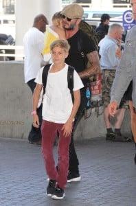 David Beckham with kids Harper and Romeo