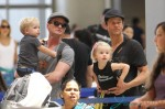 Neil Patrick Harris and David Burtka seen with their kids Gideon Scott and Harper Grace departing LAX