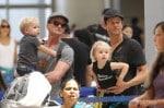 Neil Patrick Harris and David Burtka seen with their kids Gideon Scott and Harper Grace departing LAX