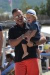 David Furnish with son Elijah in St. Tropez