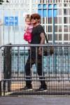 David Beckham takes daughter Harper to the Visuvio playground in Soho in New York City