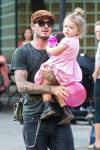 David Beckham takes daughter Harper to the Visuvio playground in Soho in New York City
