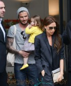 David & Victoria Beckham Take Harper Along While Shopping In Paris