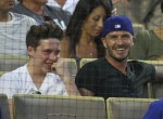 David and Brooklyn Beckham watch the Los Angeles Dodgers play the Atlanta Braves