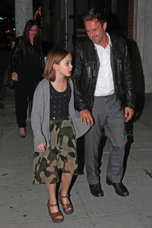 David and Coco Arquette arrive at Mr. Chows in LA