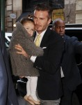 David and Harper Beckham arrive at Balthazar restaurant in NYC