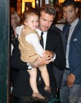 Harper is all smiles when coming out with daddy David Beckham and Victoria Beckham in NYC after lunching at Balthazar
