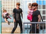 David and Harper Beckham play at the park in NYC