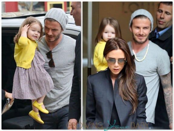David and Victoria Beckham shop in Paris with Harper