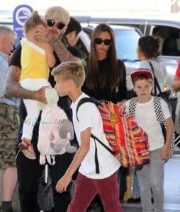 David and Victoria Beckham with kids Harper, Cruz and Romeo