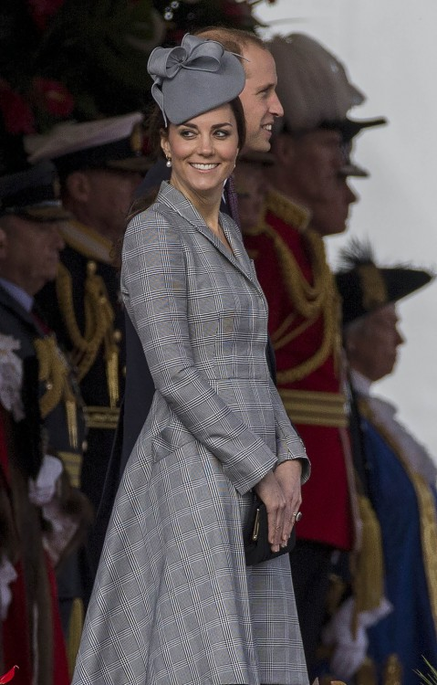 Catherine, Duchess of Cambridge is seen attending the Singapore State Visit to the UK at the Royal Garden Hotel in London