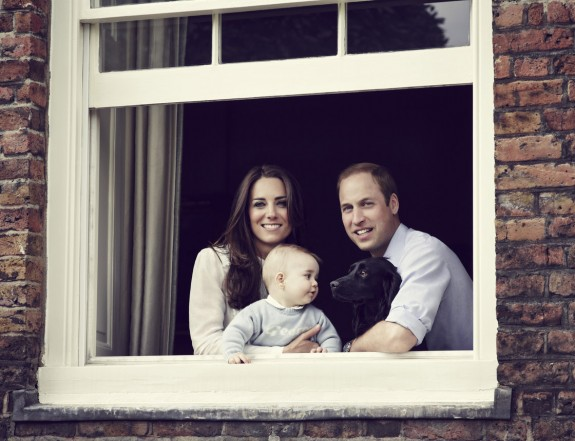 Eight-Month-Old Prince George, Kate Middleton, Prince William, and Dog Lupo