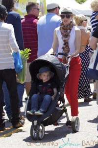 Elizabeth Banks takes her son Felix to a farmers market in Studio City on Father's Day