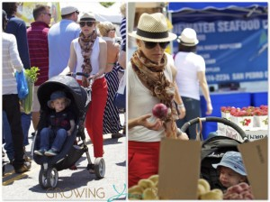Elizabeth Banks at the Farmer's Market with her son Felix