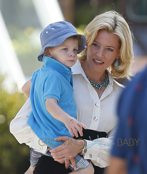 "Elizabeth Banks takes her kids, Felix Handelman and her one-year-old Magnus Mitchell to the set of ""Love & Mercy"" in Beverly Hills, CA"