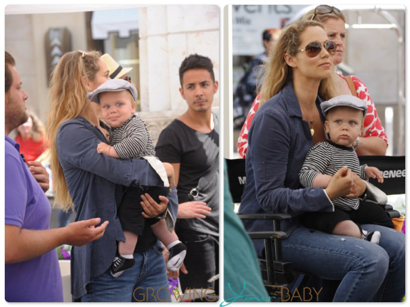 Elizabeth Berkely with son Sky Lauren at the Grove