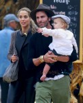 Elizabeth Berkley and husband Greg Lauren take their son Sky to the pumpkin patch