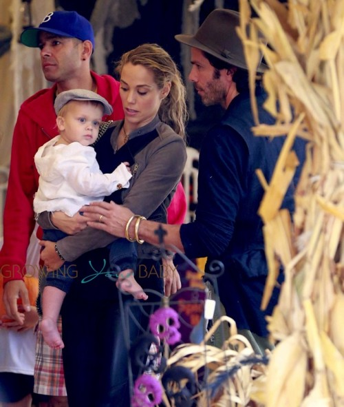 Elizabeth Berkley takes her son Sky to the pumpkin patch