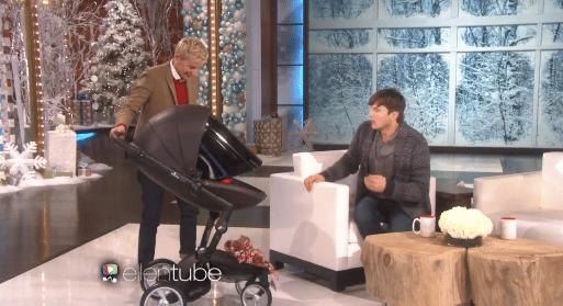 Ellen gifts Ashton Kutcher a custom Mima Xari stroller