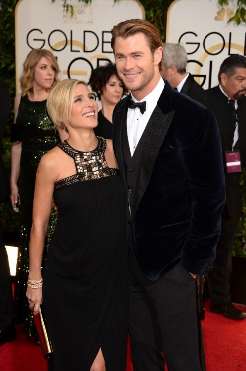 Elsa Pataky & Chris Hemsworth at the 71st annual Golden Globe Awards