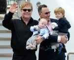 Elton John & David Furnish With Their Sons In Venice