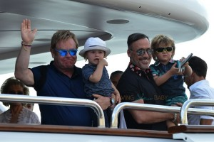 Elton John and David Furnish with their sons Elijah and Zachary Furnish-John on a yacht in St