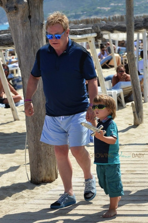 Elton John with son Zachary in St. Tropez