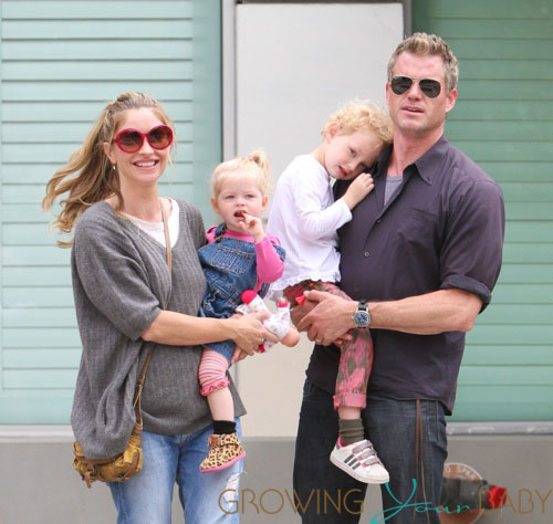 Family photo of the actor, married to Rebecca Gayheart, famous for X-Men: The Last Stand & Las Vegas.
