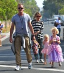 Eric Dane and Rebecca Gayheart at the market with daughters Georgia and Billie